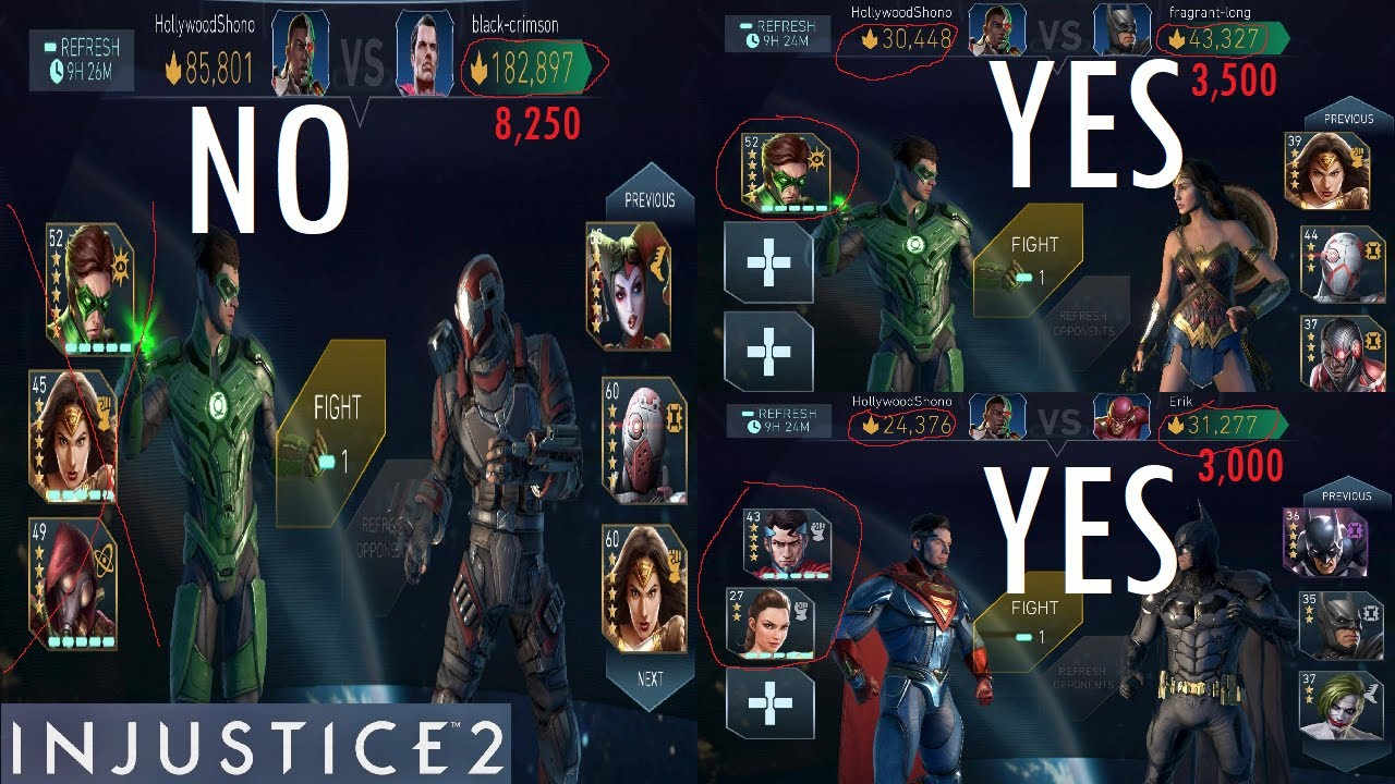 Injustice 2 Mobile - Maximizing Arena Score HIT TOP 50 EASILY