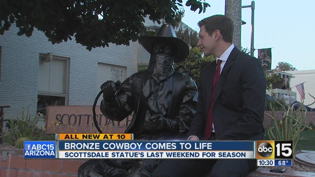 Bronze cowboy comes to life
