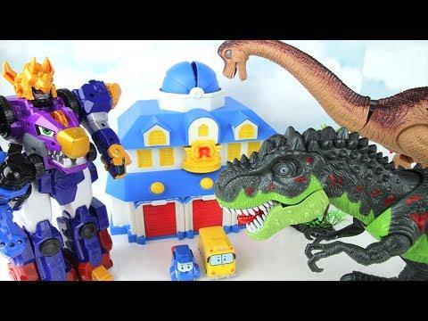 T-Rex Brachiosaurus Attacks! My Friends in Dangers~ GoGo Dinocore~ Dinosaurs Fun toys Movie.