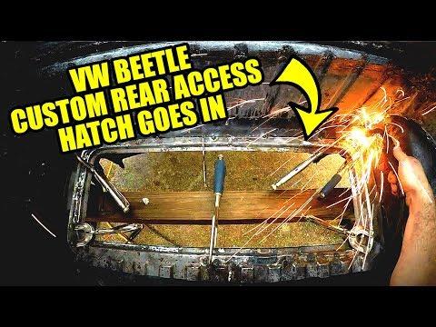 Welding In Rear Hatch - ROTTEN OLD 1956 Chop Top Oval VW Beetle - 66