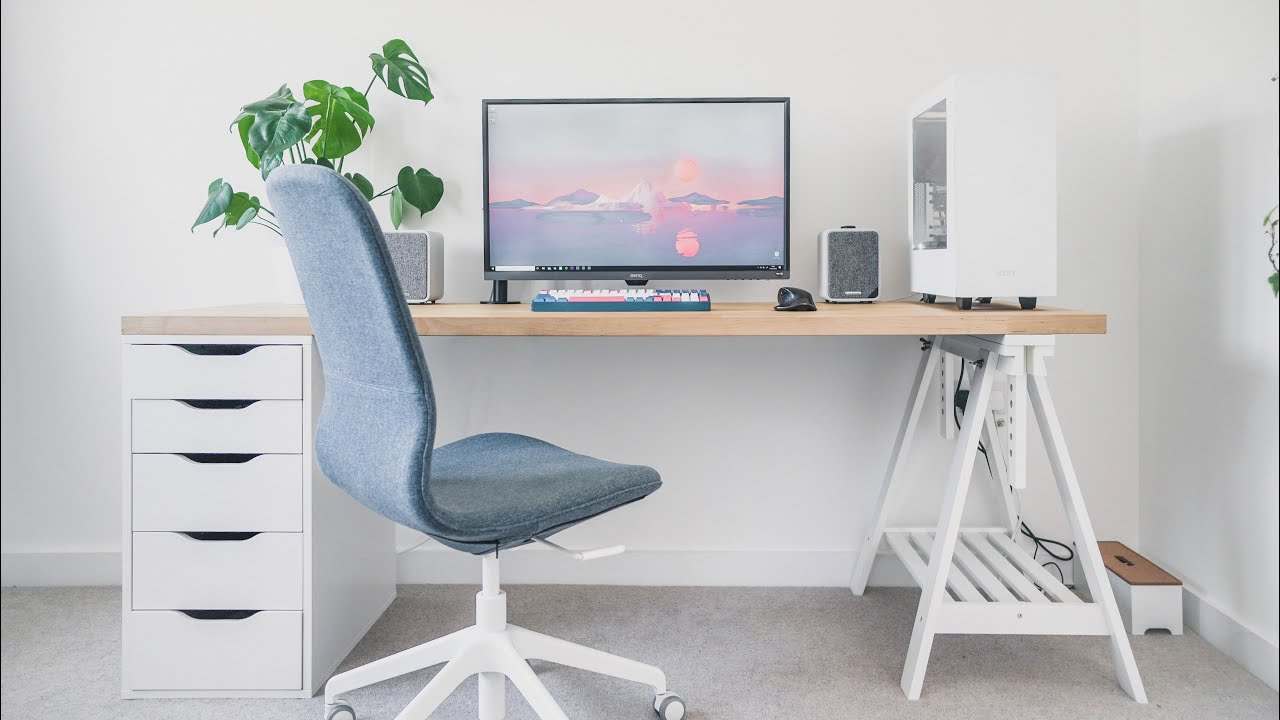 Ikea Desk Setup Home Office Tour 2020 Youtube