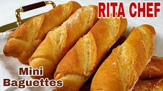MINI BAGUETTES FATTE IN CASA di RITA CHEF/FRENCH MINI BAGUETTES RECIPE/RECETTE DE MINI BAGUETTES.