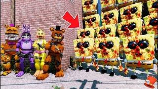 CAN THE ANIMATRONICS DEFEAT THE EVIL SPONGEBOB.EXE ARMY? (GTA 5 Mods FNAF Kids RedHatter)