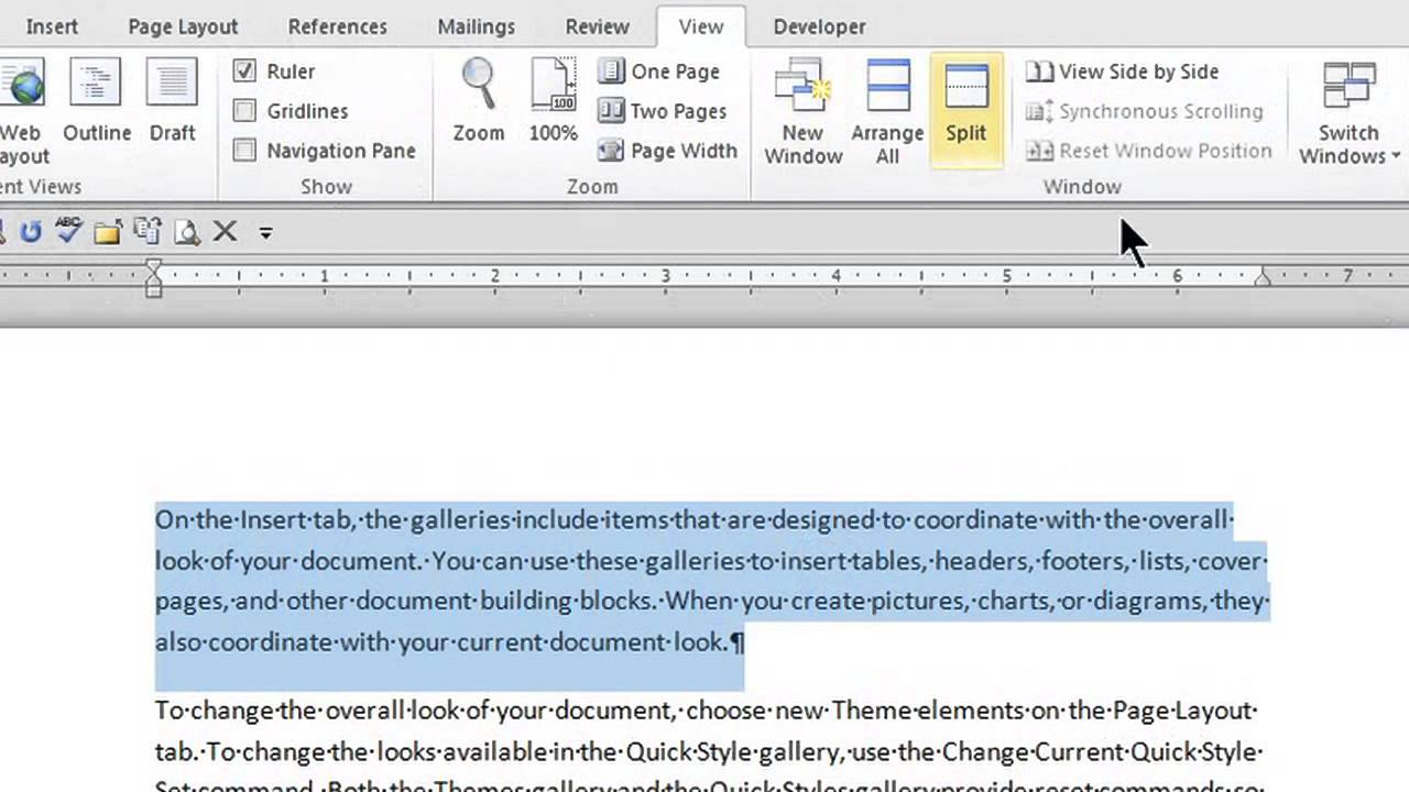 how to put ruler in word
