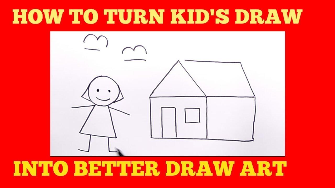 HEBAT Menggambar Lukisan Anak TK Jadi LEBIH BAGUS How To Turn Kids Draw Into Good Draw