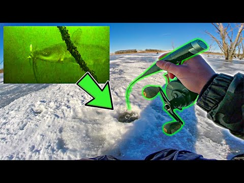 Ice Fishing DEEP TIMBER For BIG FISH!!! (Underwater Footage)