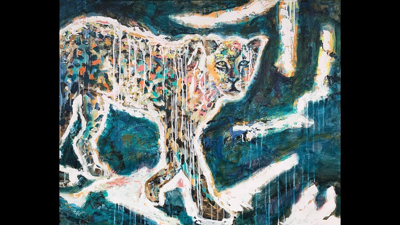 Painting by Eva van den Hamsvoort: Look a Leopard