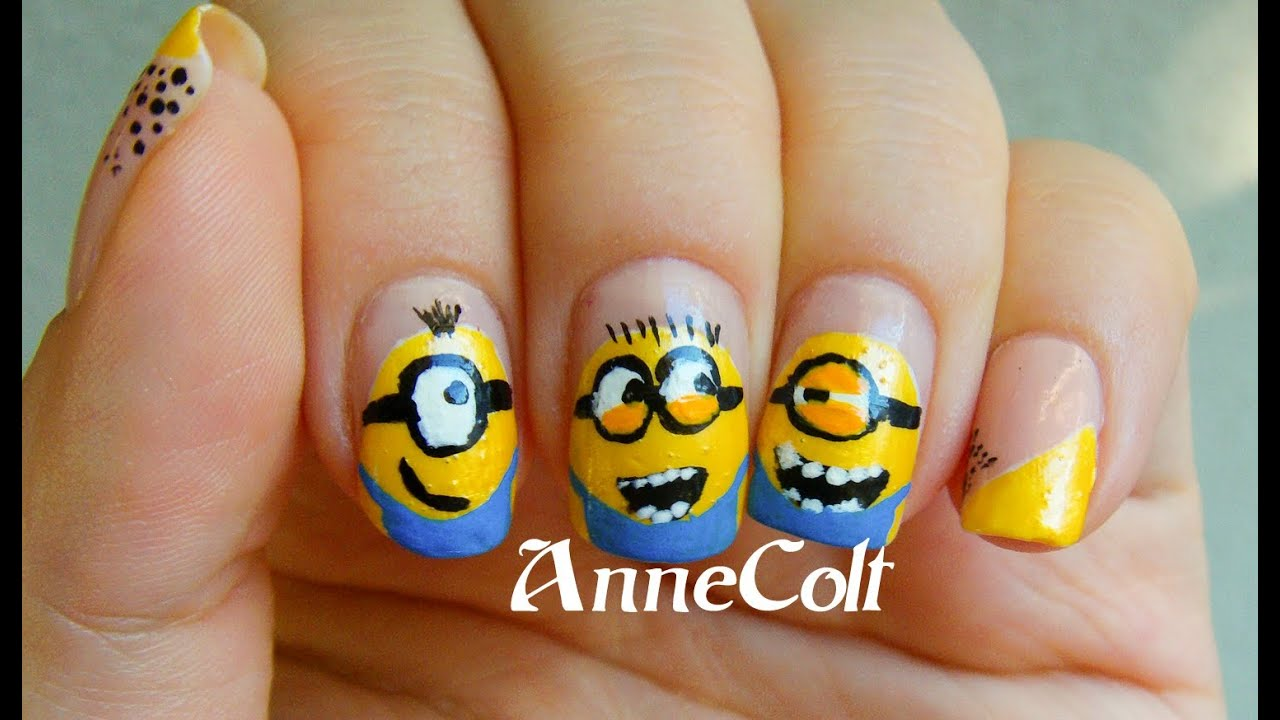 Minions Nail Design | Despicable Me 2 Nails - YouTube