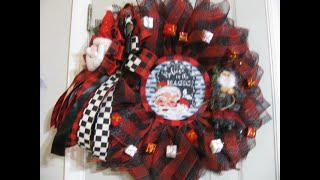 Buffalo Red Black Plaid, Santa Clause Flower Wreath and live Drawing