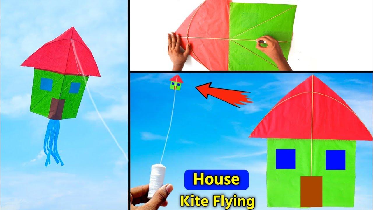 House kite making , how to make kite , flying homemade kite , home shape kite, patang kese banate he