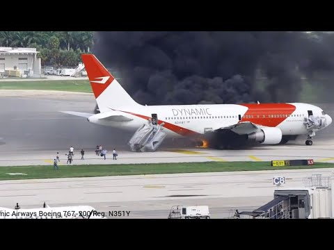 Evacuate Burning Plane | Fort Lauderdale-Hollywood International Airport