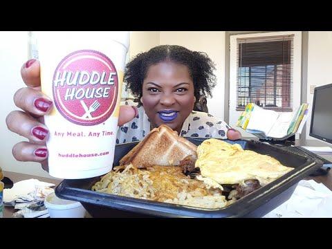 Huddle House/Philly Cheese Steak Omlete Breakfast/Mukbang-eating show
