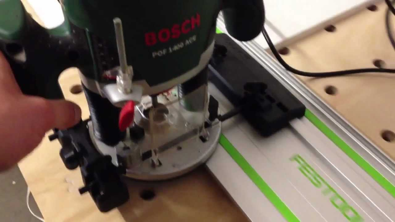 bosch pof 1400 mit festool f hrungsschiene youtube. Black Bedroom Furniture Sets. Home Design Ideas