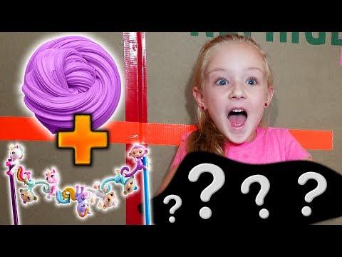 3 Colors of 1 Gallon Slime! FingerLings Minis Slime vs Hatchimals Slime vs Shopkins Slime!!!