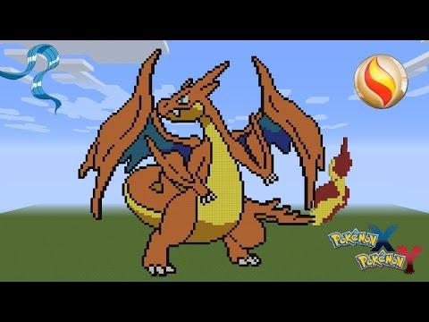 Minecraft Pixel Art Pokemon Charizard Y Mega Evolution