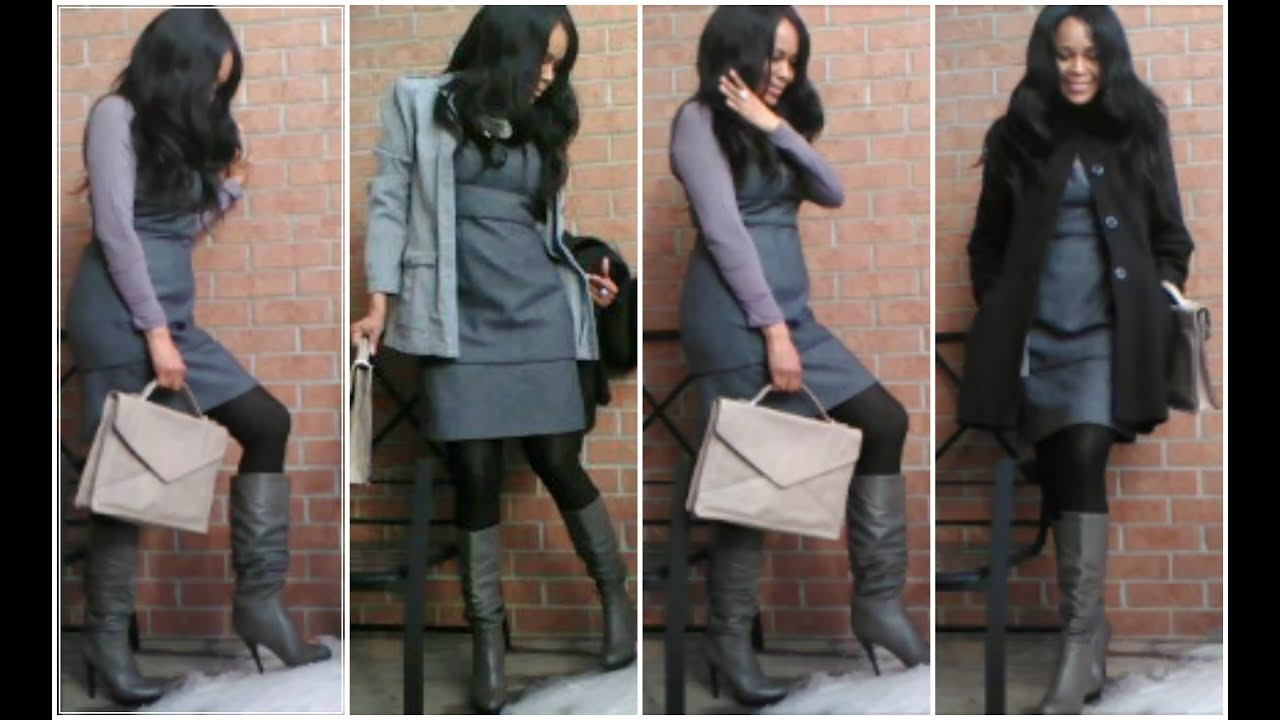 Ootd Office Work Shades Of Grey Tweed Dress Paired With Below The Knee Boot
