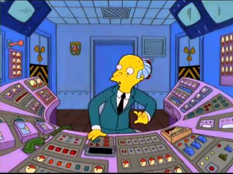 Homer replaced by Mr.Burns at work. The Simpsons