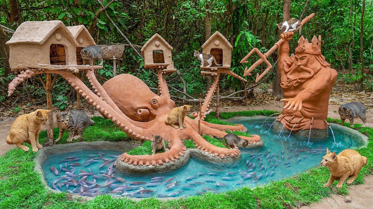 Build Amazing Cat House Octopus And Poseidon Aquarium Fish Pond