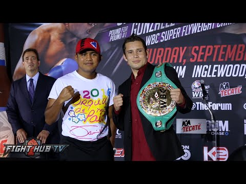 Roman Gonzalez vs. Carlos Cuadras COMPLETE Kickoff Press Conference & Face off video