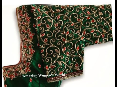 Most Beautiful Heavy Overall Sleeves Design With Normal Stitching Needle- Same Like Aari/Maggam Work