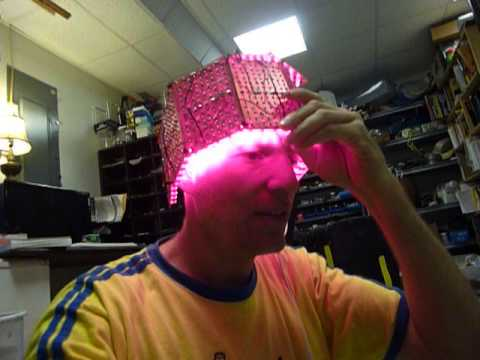 LED helmet for dementia