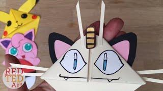 Easy Meowth DIY - Pokemon Bookmark Corners - Origami Inspired - Pokemon Go