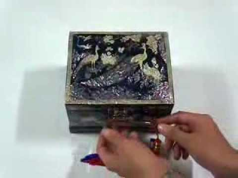 Music Jewelry Box Blue Peacock Korean Mother Of Pearl