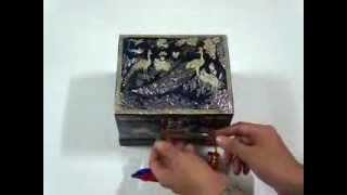 Music Jewelry Box Blue Peacock Korean Mother Of Pearl Inlay Hand Made
