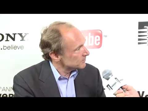 Eugene Mirman interviews Sir Tim Berners Lee on the Red Carpet at the 14th Annual Webby Award