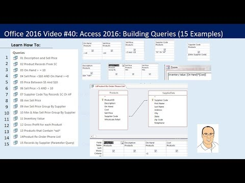 Office 2016 Video #40: Access 2016: Building Queries in Access (15 Examples) from YouTube · Duration:  38 minutes 10 seconds