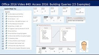 office 2016 video 40 access 2016 building queries in access 15 examples