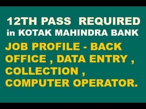 12th pass jobs in kotak bank