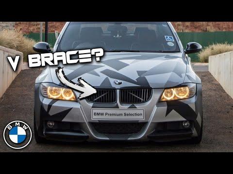 BMW E90 V Brace DIY, silver stipes & LED vs HID