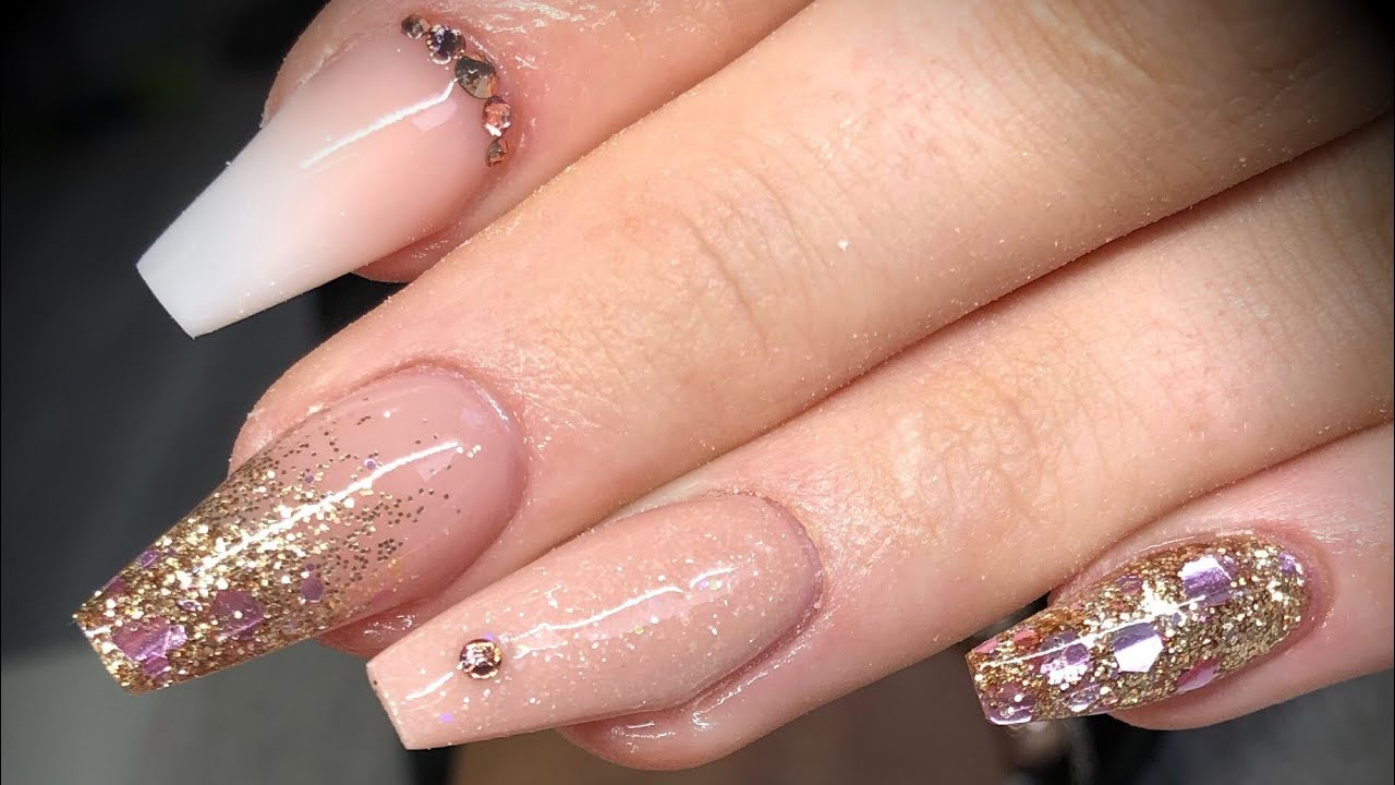 Acrylic nails - rose gold design set - YouTube