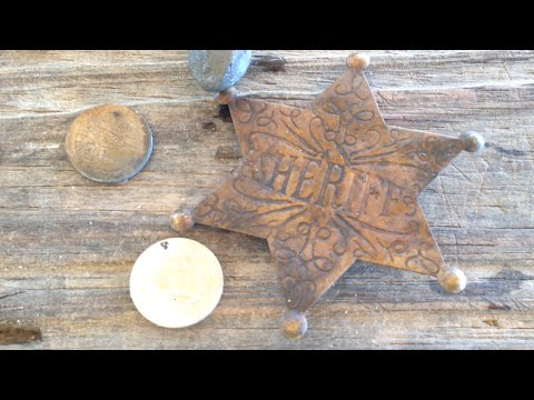 Metal Detecting Boynton Beach Inlet Park Brass Sheriff Badge and Some coins Found
