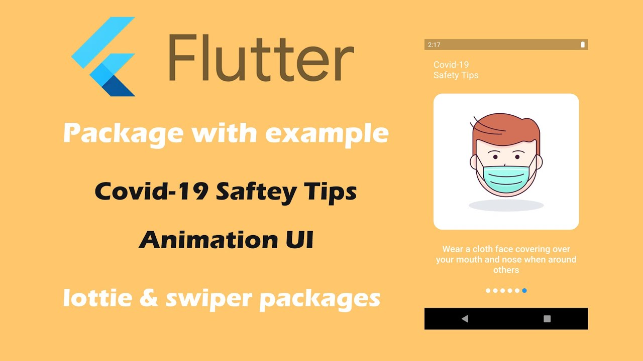 Flutter Covid-19 Safety Tips Animation UI | lottie & swiper packages
