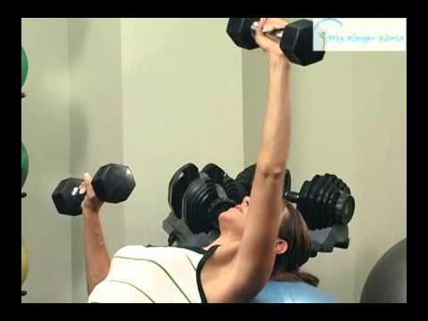 incline alt chest press on swissball w db
