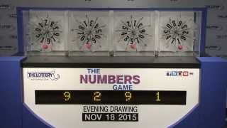 Evening Numbers Game Drawing: Wednesday, November 18, 2015