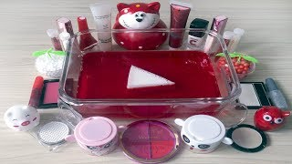 Red + White SLIME / Mixing EYESHADOW and Glitter into Clear Slime