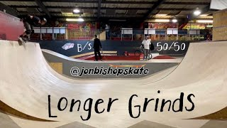 Mproving Backside 5050 Grinds On A Skateboard  N A Bowl And On Mini Ramp Coping