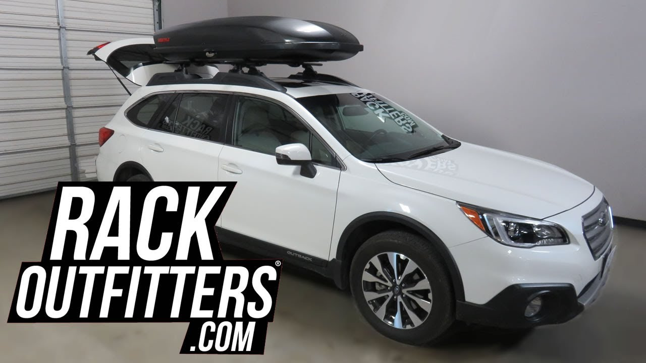 Subaru Outback Wagon With Yakima Skybox 18 Carbonite Roof