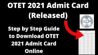 OTET 2021 Admit Card (Available) - How to Download Odisha Teachers Eligibility Test 2021 Hall Ticket