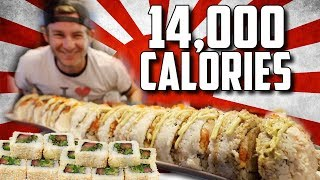 DOUBLE MONSTER SUSHI ROLL CHALLENGE (14,000+ CALORIES)