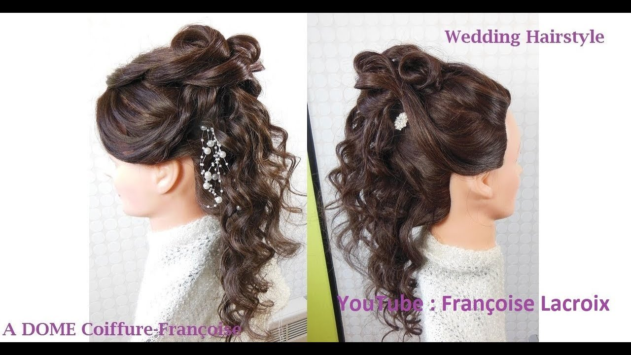 coiffure boucl e mariage wedding curled hairstyle peinado con rizos para boda youtube. Black Bedroom Furniture Sets. Home Design Ideas