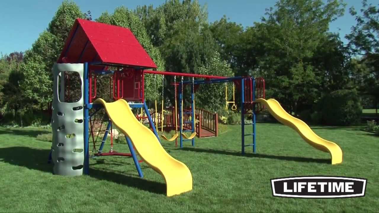 children play set swing playset fun tower outdoors itm new adventure backyard lifetime kids