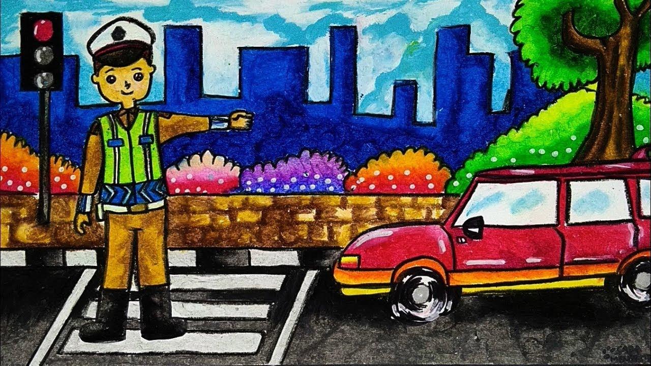 Cara Menggambar Dan Mewarnai Tema POLISI LALU LINTAS POLICE Dengan Gradasi Warna Crayon Oil Pastel