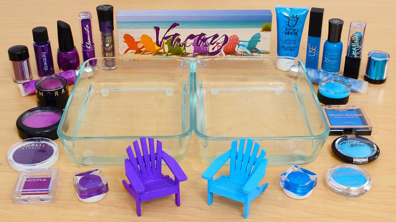 Download Purple vs Blue - Mixing Makeup Eyeshadow Into Slime ASMR 414 Satisfying Slime Video