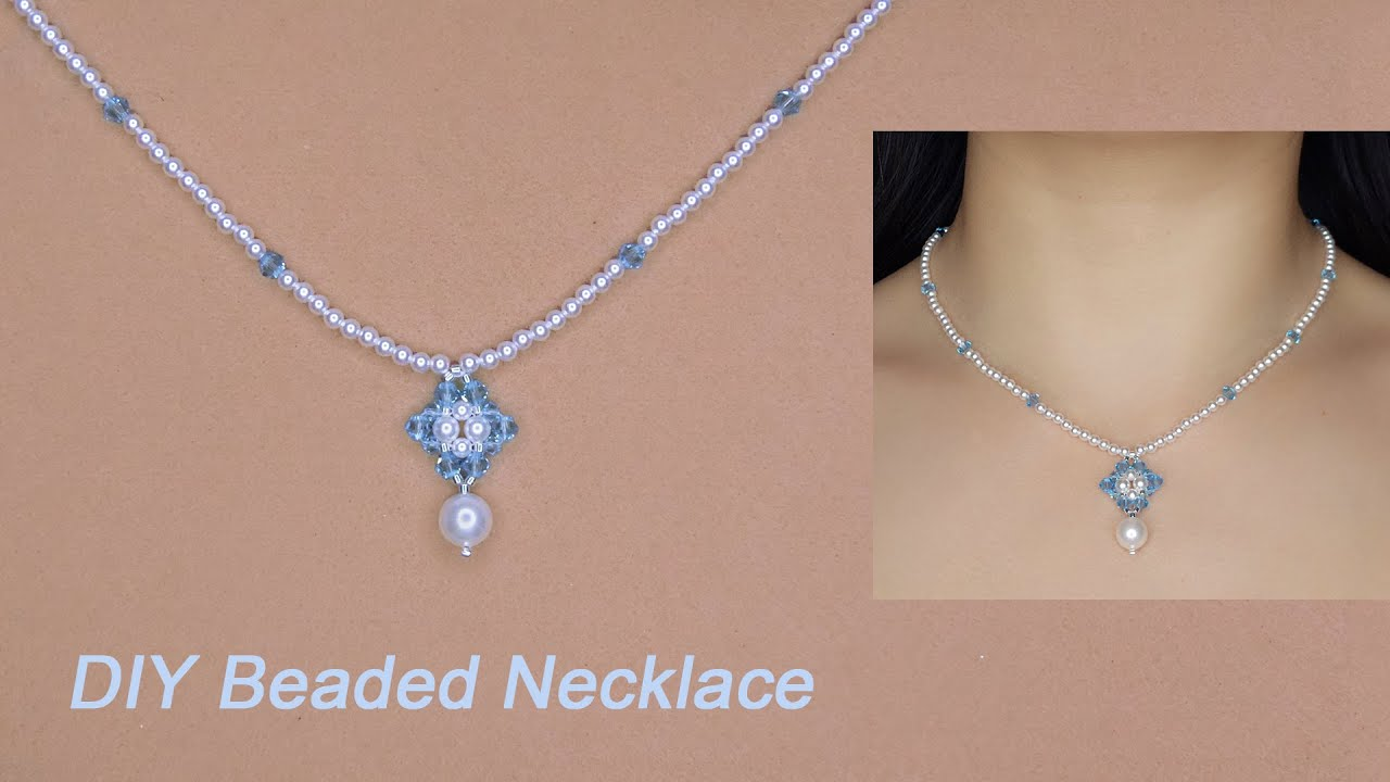 DIY Pearl and Crystal Beaded Pendant Necklace with Blue Bicone Crystal Beads and White Pearls手作串珠项链