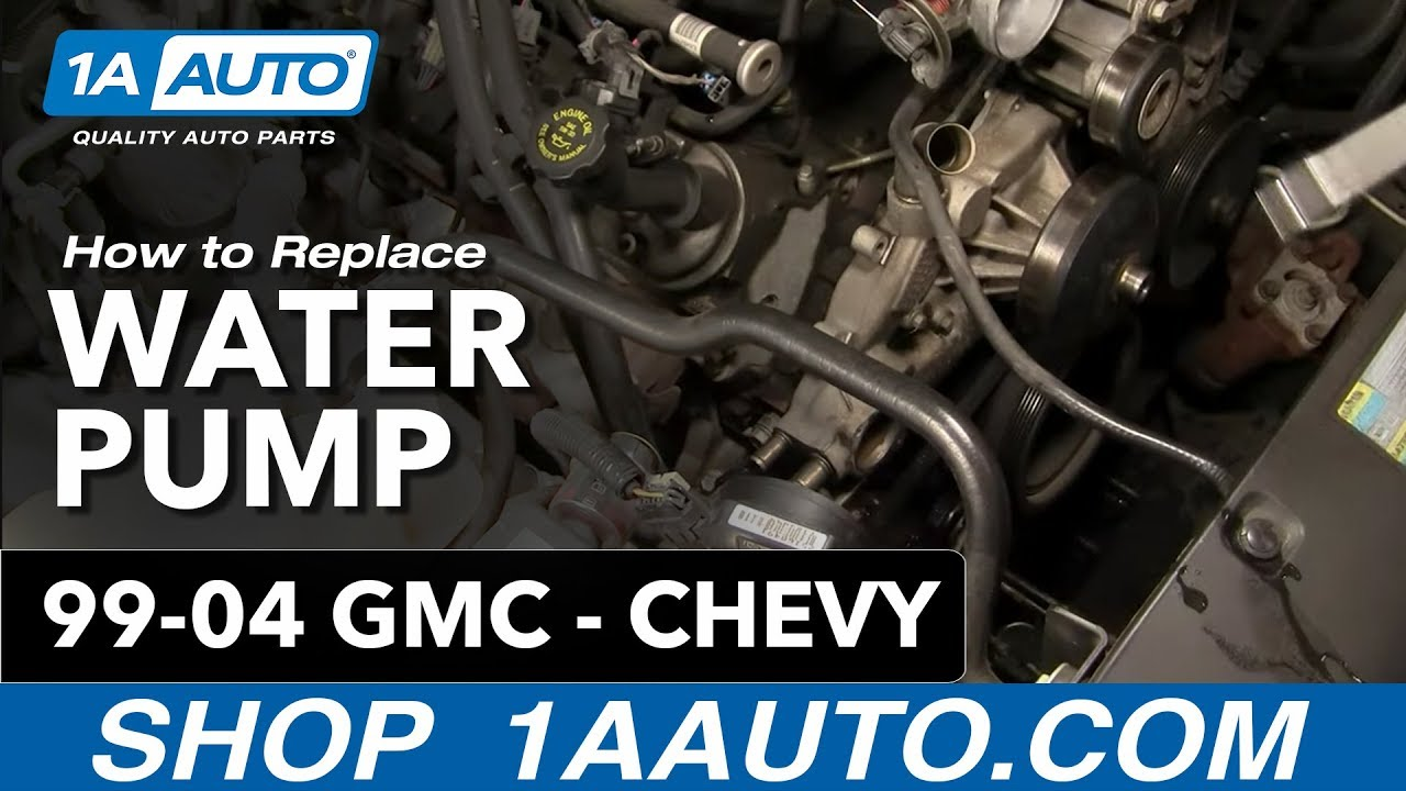how to install replace water pump chevy gmc silverado sierra tahoe yukon 4 8l 5 3l 6 0l 99 04 1aauto [ 1280 x 720 Pixel ]