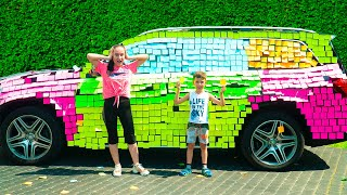Artem and colored car for Mommy